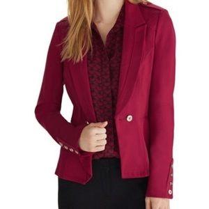 White House Black Market Red Ruffled Blazer Size 8